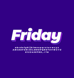 Modern 3d purple white font effect or text effect vector