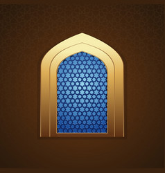 Mosque window with arabic pattern vector