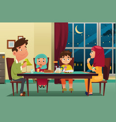 Muslim family eating dinner at home vector