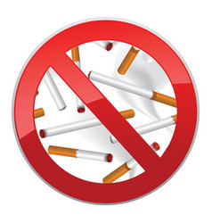 No smoking symbol inscription of cigarettes on vector