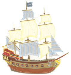 old pirate sailing ship with a flag of jolly roger vector image