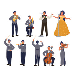 Opera theater singer and musician character set vector