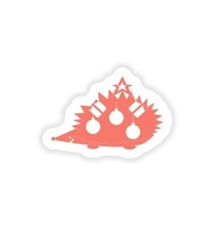 Paper sticker on white background hedgehog gifts vector