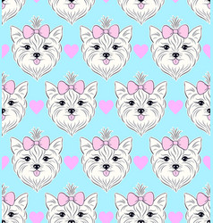 pattern with head of dog vector image