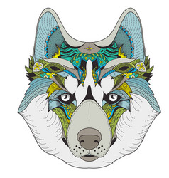 poster with zenart patterned husky vector image