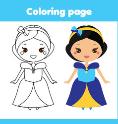 Princess coloring page educational game vector
