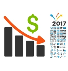 Recession Trend Icon with 2017 Year Bonus vector
