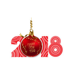 red ball isolated on white background happy new vector image