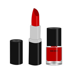 red lipstick and nail polish vector image