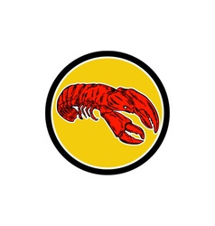 Red Lobster Circle Retro vector image