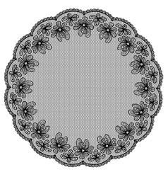Round black lacy frame on white background vector image