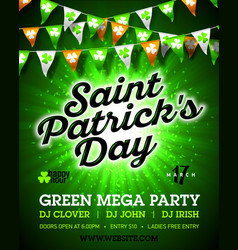 Saint patricks day green mega party invitation vector