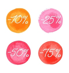 Sale icons in watercolor style vector