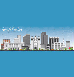 San salvador skyline with gray buildings and blue vector