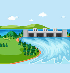 Scene with forest and dam vector