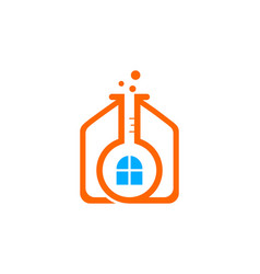 science lab with home logo vector image