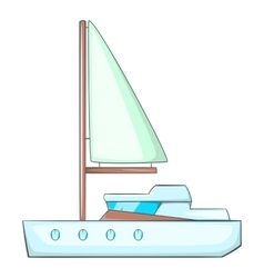 Sea yacht icon cartoon style vector