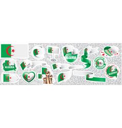 Set national flag algeria vector
