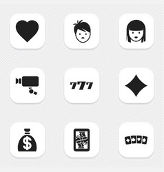 set of 9 editable casino icons includes symbols vector image