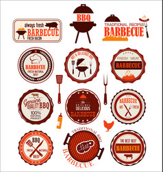 set of barbecue labels vector image