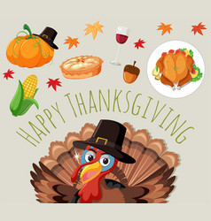 Set of thanksgiving food vector