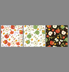 Set seamless patterns with red and green apples vector