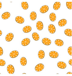 sliced oranges seamless pattern on white vector image