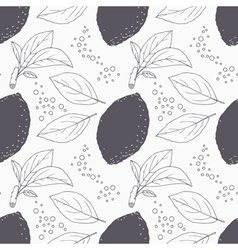 Stylized seamless pattern with hand drawn lemon vector image