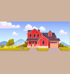 Suburban house residential cottage real estate vector