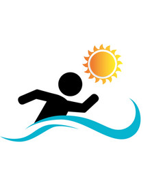 swiming athlete silhouette icon vector image