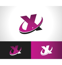 Swoosh Alphabet Icon X vector