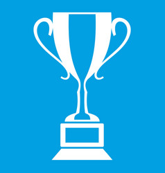 Trophy cup icon white vector