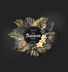tropical hawaiian sale poster with gold and black vector image