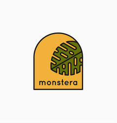 tropical leaves linear logo monstera leaves icon vector image