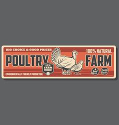 Turkey and quail poultry farm animal farming vector