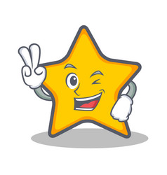 two finger star character cartoon style vector image