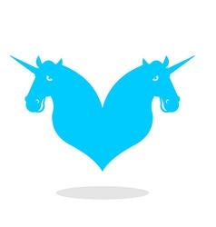 Unicorn love logo LGBT symbol community Sign of vector image
