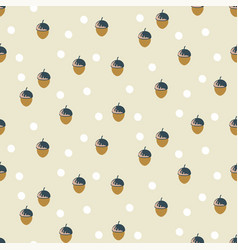 Vintage acorn oak seeds cream colors seamless vector