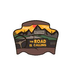 Wanderlust logo emblem road trip badge vintage vector