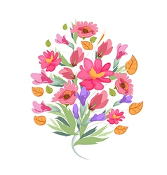 Watercolor bouquet of flowers vector