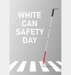 White cane safety day concept banner realistic vector