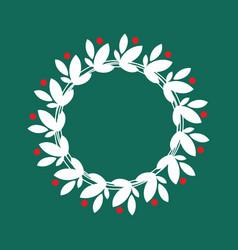 White christmas wreath vector