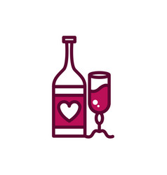 wine bottle and glass cup romantic celebration vector image