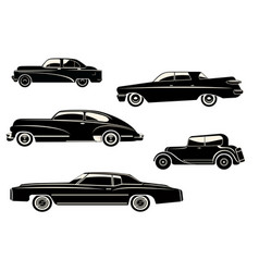 With black retro car vector