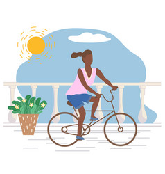 Woman riding bicycle on promenade active sport vector