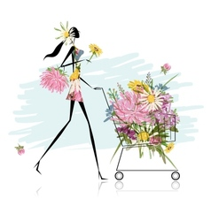 Woman with floral trolley for your design vector image
