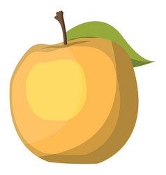 yellow apple with green leaf cartoon fruit on vector image
