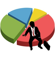 business silhouette sit market share chart vector image vector image