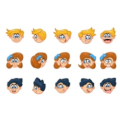 Cartoon of boy and girl various face expressions vector