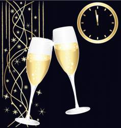 midnight toast of champagne vector image vector image